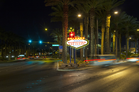 city limit: The downtown Las Vegas sign at night Editorial