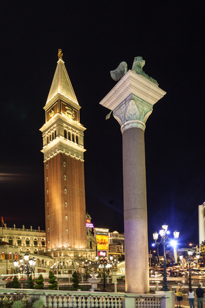 LAS VEGAS - JUNE 15 2012: The Venetian Resort Hotel & Casino  resort opened on May 3, 1999 with flutter of white doves, sounding trumpets, singing gondoliers and actress Sophia Loren.