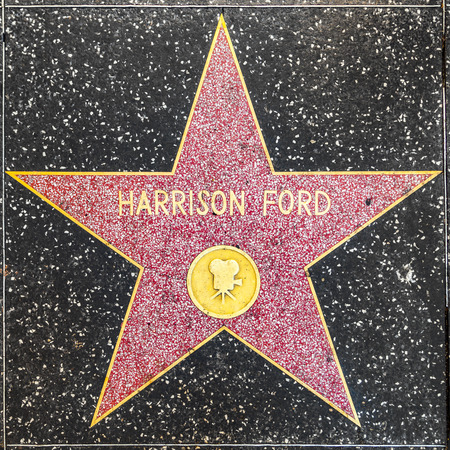 LOS ANGELES, USA - JUNE 24, 2012: Harrison Fords star on Hollywood Walk of Fame  in Hollywood, California. This star is located on Hollywood Blvd. and is one of 2400 celebrity stars. Editorial
