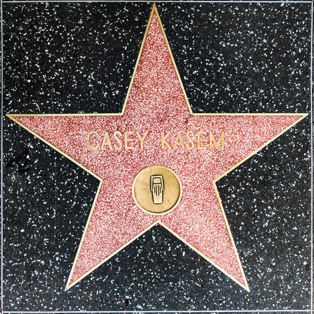 casey: LOS ANGELES, USA - JUNE 26, 2012: Casey Kasems star on Hollywood Walk of Fame   in Hollywood, California. This star is located on Hollywood Blvd. and is one of 2400 celebrity stars.