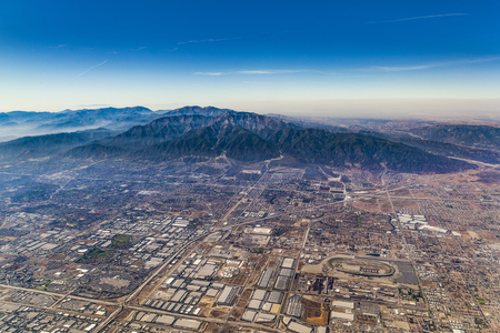 aerial of Los Angeles under blue sky on a sunny day Stock Photo