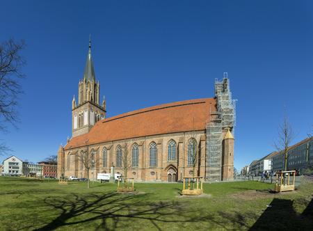 NEUBRANDENBURG, GERMANY - APR 1, 2016: St. Marias Church in Neubrandenburg, Germany. The church was, partly destroyed during the Second World War.