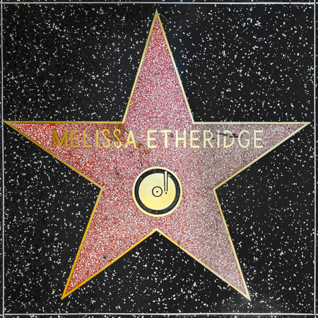 county side: LOS ANGELES, USA - JUNE 26, 2012:  Melissa Etheridges star on Hollywood Walk of Fame in Hollywood, California. This star is located on Hollywood Blvd. and is one of 2400 celebrity stars.