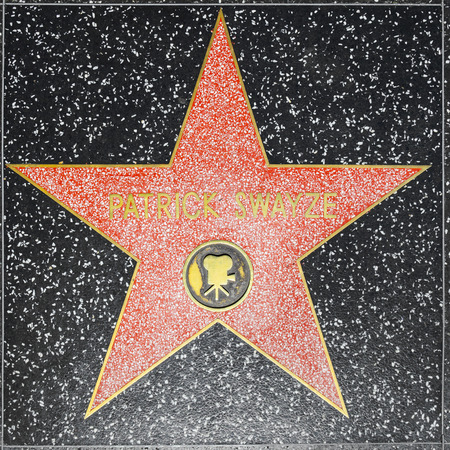 county side: LOS ANGELES, USA - JUNE 26, 2012: Patrick Swayzes star on Hollywood Walk of Fame in Hollywood, California. This star is located on Hollywood Blvd. and is one of 2400 celebrity stars. Editorial