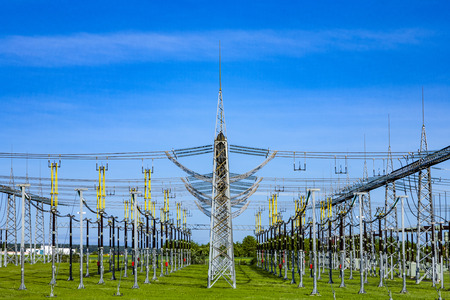 power plant and distribution station in beautiful landscape Stock Photo