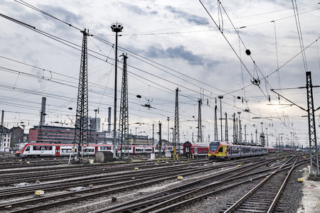 FRANKFURT, GERMANY - NOV 4, 2016: trains arrive and depart at Frankfurt train station. The classicistic train station opened in 1899 and is the biggest in Germany. Publikacyjne