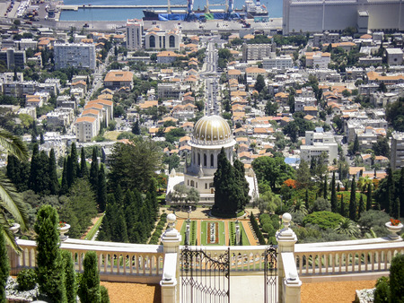 baha: Bahai gardens and temple on the slopes of the Carmel Mountain and view of the Mediterranean Sea and bay of Haifa city, Israel