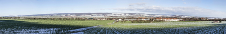 covered fields: lovely winter landscape in Bad Frankenhausen with white covered fields Stock Photo