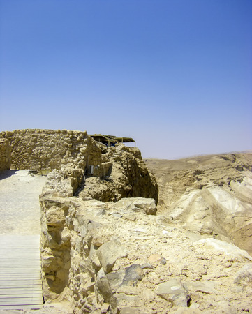masada: Negev desert - View of ruins of Masada
