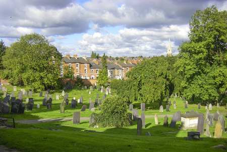 ww1: NOTTINGHAM, ENGLAND - JAN 1, 2007: old graves at the famous general cemetery in Nottingham. The cemetery is home for WW1 and WW2 dead soldiers.