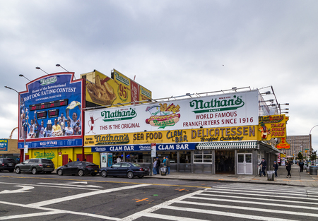 New York, USA - OCT 25, 2015: : The Nathans original restaurant at Coney Island, The original Nathans still exists on the same site that it did in 1916.