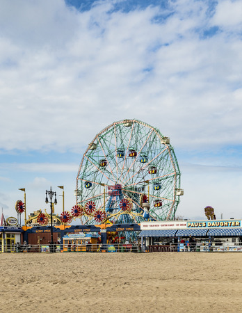 New York, USA - OCT 25, 2015: Wonder Wheel is a hundred and fifty foot eccentric wheel built in 1920 in Luna Park Coney Island. Editorial