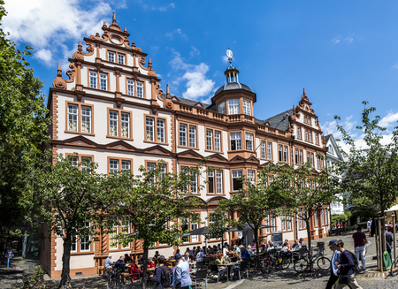 gutenberg: MAINZ, GERMANY - JULY 15, 2016: Old Historic Gutenberg Museum with blue sky in Mainz, Germany. Mainz is the capital of county Rhineland-Palatinate.
