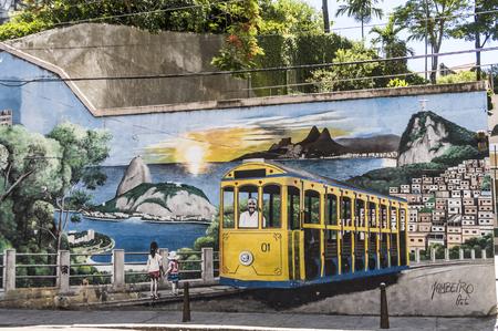 RIO DE JANEIRO, BRAZIL -JAN 4, 2017: painting of The Santa Teresa Tram on Largo dos Guimaraes.