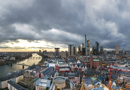 river banks: skyline of Frankfurt am Main in the evening, Germany
