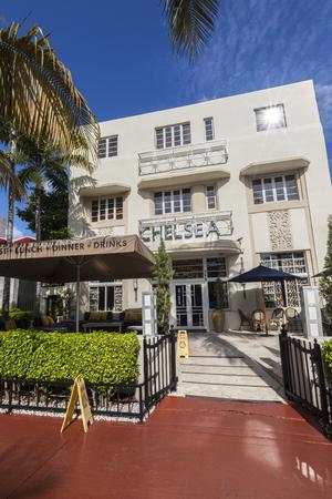 MIAMI, USA - AUG 5, 2013: old vintage Hotel Chelsea in Miami Beach in art deco style near ocean drive in South Beach, Miami.