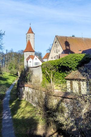 city wall near Segringer gate in famous old romantic medieval town of Dinkelsbuehl in Bavaria, Germany Stock Photo