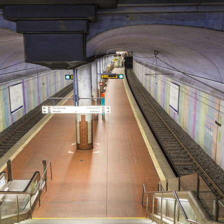 FRANKFURT, GERMANY - JAN 19, 2014: subway station Westend. The lines U6 nad U7 operate from this station. Editorial
