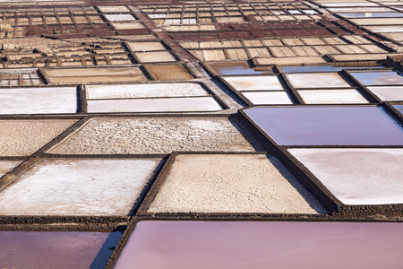 view to scenic salinas de Janubio in Lanzarote
