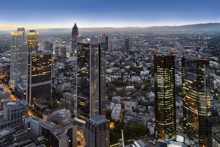 hessen: aerial of Frankfurt am Main by night Stock Photo