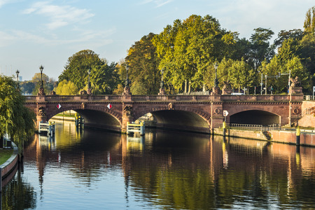 or spree: view to historic sandstone Moltke Bridge in Berlin, Germany Stock Photo