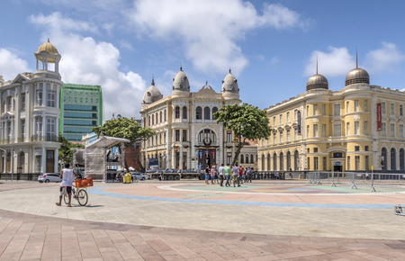 17th: RECIFE, BRAZIL - DEC 22, 2015: The historic buildings of Recife in Pernambuco, Brazil with its construction dated from from 17th century.