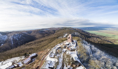 brocken: view from Kyffhaeuser monument tio the valley and rural area in Thuringia, Germany.