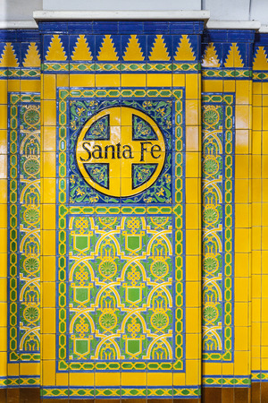 SAN DIEGO, USA - JUNE 11, 2012: name Santa Fe on tiles with old decoration in the union train station in San Diego, USA.