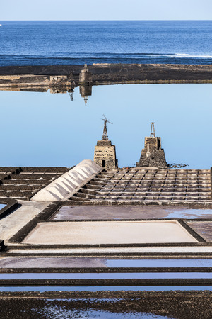 famous old Saline in Janubio, Lanzarote, Spain Stock Photo