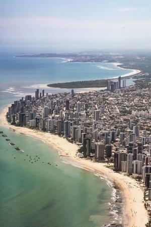 aerial of  Boa Viagem beach and skyline of Recife, Brasilia