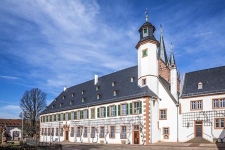 hessen: famous benedictine cloister in Seligenstadt, Germany under blue sky Stock Photo