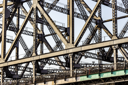 howrah: detail of Howrah Bridge. It is currently the sixth-longest cantilever bridge in the world. Stock Photo
