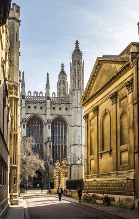 CAMBRIDGE, ENGLAND - MAR 13, 2017 : Kings college  in Cambridge, England. Founded in 1441 by King Henry VI, it has the worlds largest stained glass windows.