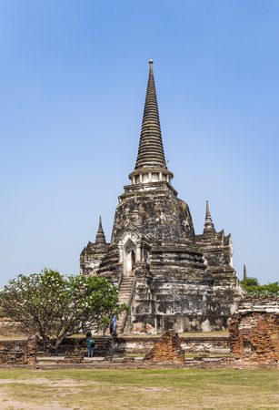 famous temple area Wat Phra Si Sanphet, Royal Palace in Ajutthaya under blue sky