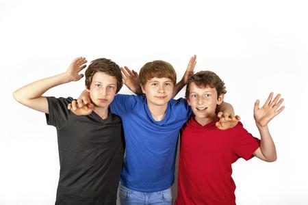 three happy joyful friends enjoy life photo