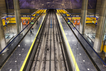 17 20: MADRID, SPAIN - DEC 20, 2010: underground in Madrid, Spain. The first line of the Madrid metro opened on 17 October 1919.