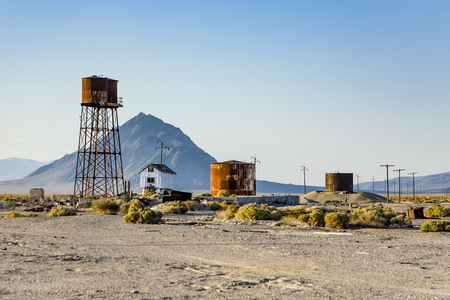 borax: old abandonned Borax  factory with rusty watertank   in Death valley Junction