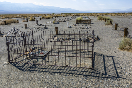 ballarat: BALLARAT, USA - JULY 19, 2008: old cemetery of ghost town Ballarat with grave of Seldom seen slim near the death valley. 400 people lived here untill 1905.