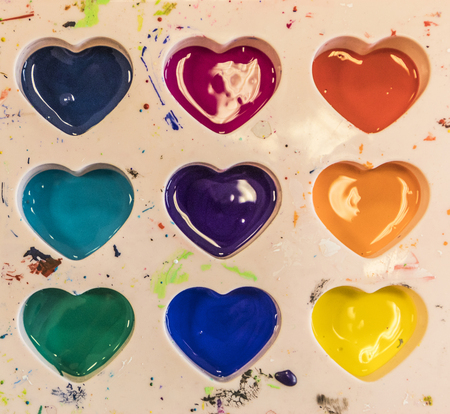 rainbow colors in heart shape at an artists palette