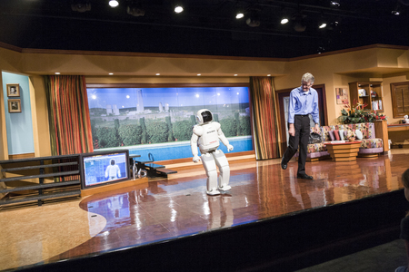 ANAHEIM, USA - JULY 29, 2008:  Asimo, the humanoid robot created by Honda is presented at Anaheim to the audience of Disney Land. Editorial