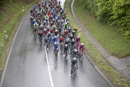 BAD SODEN, GERMANY -MAY 1, 2017: cyclists at  Eschborn–Frankfurt – Rund um den Finanzplatz race. It is an annual semi classic cycling race in Germany, starting in Eschborn and finishing in Frankfurt.