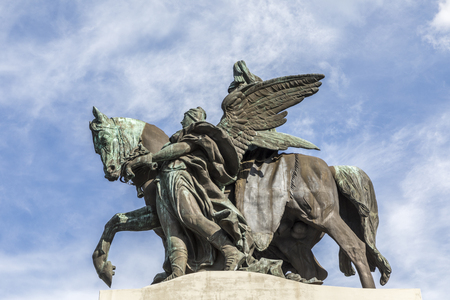 confluence: Remodeled equestrian statue of German Emperor William I in German Corner in Koblenz, Germany Stock Photo