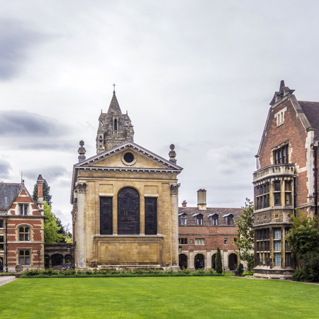 old court of Pembroke College in the University of Cambridge, England.