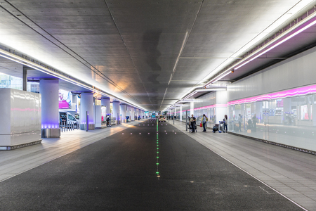 enables: FRANKFURT, GERMANY - MAY 18, 2017: new drop off and pick up area at Frankfurt international airport. The area was finished in 2016 and enables a quick drop down. Editorial