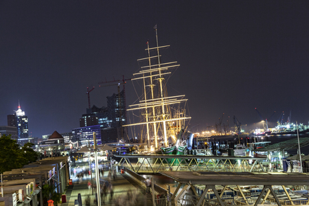 HAMBURG, GERMANY - AUG 24, 2011: ship Rickmer Rickmers in Hamburg. The Rickmer Rickmers is a sailing ship - three masted barque - permanently moored as a museum ship in harbor of Hamburg
