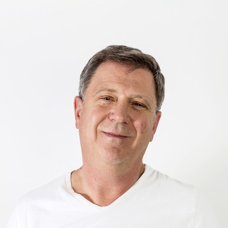 smiling happy man isolated on white background photo