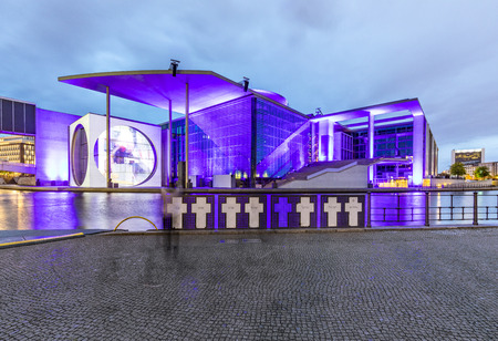 BERLIN, GERMANY - JUNE 7, 2017: night view of Marie-Elisabeth-Luders-Haus in Berlin, film and light show. Berlin at night.