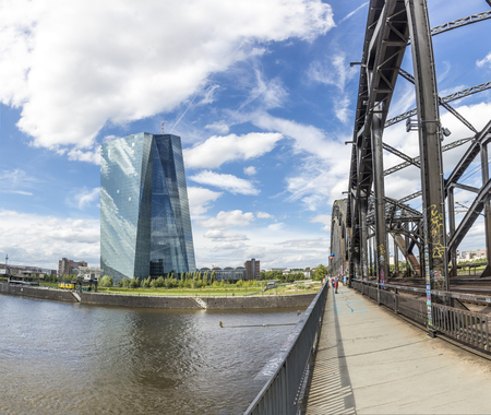 FRANKFURT, GERMANY - JULY 29, 2017: panoramic view to skyline of Frankfurt with ECB building and skyline. ECB was inaugurated in 2015 with demonstrations.  Actual head of ECB is Mario Draghi. Editorial