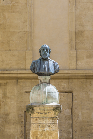 the abbot: old historic statue of Peiresc in Aix en provence, Peiresc lived from 1580 to 1637