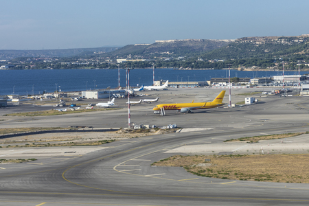 MARIGNANE, FRANCE - AUG 17, 2017: DLH aircraft taxiing at Marseille airport in Marignane, France. DHL aircraft is painted in typical DHL yellow. Editorial